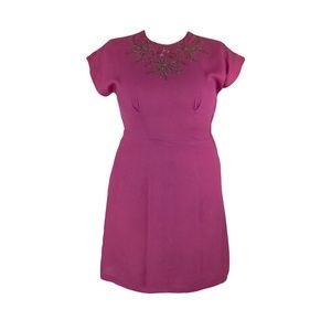 Vintage 40's Magenta Pink Wiggle Dress